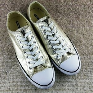 Converse All Star Gold Shiny Women's Shoes Size 11